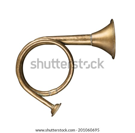 vintage hunting horn  isolated...