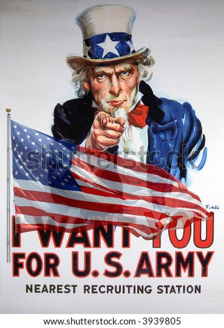Vintage I Want You For US Army Uncle Sam recuiting poster and American flag composite
