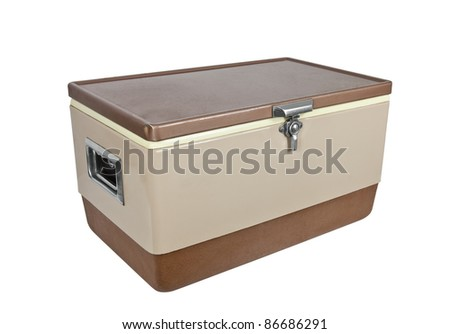 Vintage ice chest cooler from the 1970's isolated on white. - stock photo
