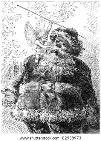 Vintage illustration of Santa Claus. Illustration by unknown artist, published in Harper's Monthly january 1872.