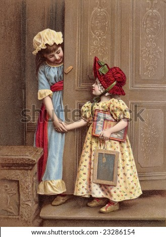 Vintage illustration of two little girl friends holding hands and greeting each other at an ornate wooden door, circa 1880 - stock photo