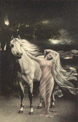 Vintage illustration of woman in flowing gown with horse