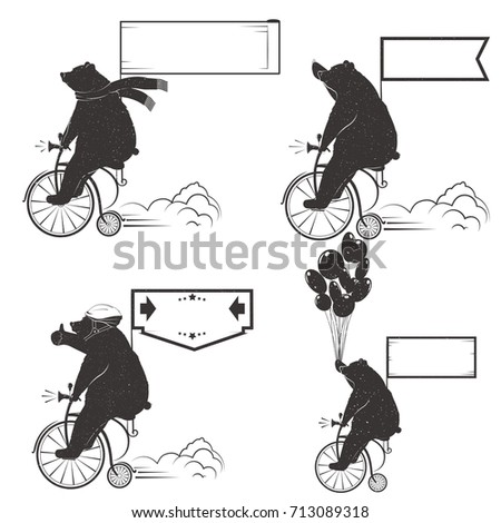 Vintage Illustration Set of bears on a bike with Grunge effect. Funny bear ride a bicycle on a white background for posters, advertising and T-shirts. Raster version.