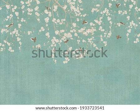 Vintage illustration with branches and birds on green background. Design for wallpaper, photo wallpaper, fresco.