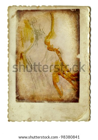 vintage image - mixed media - ballerina from behind
