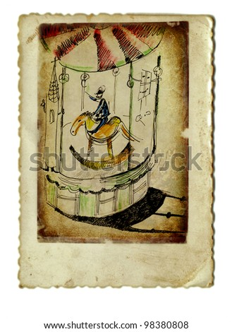 vintage image - mixed media - old wooden carousel with horse and doll