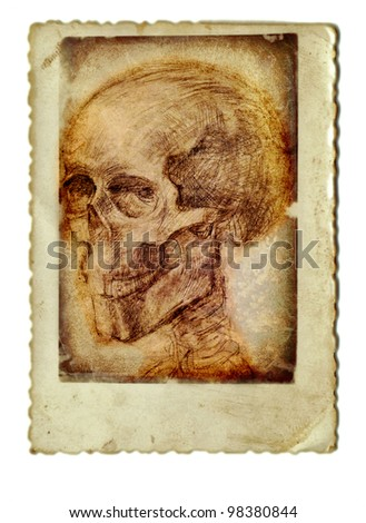 vintage image - mixed media - the skull - stock photo