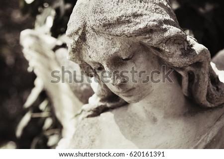 vintage image of a sad angel on ...