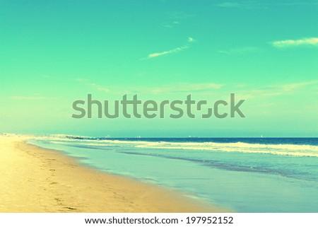 vintage image of beautiful summer beach