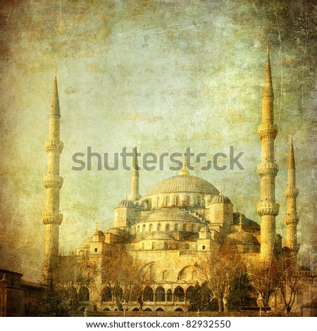 Vintage image of Blue Mosque, Istanbul