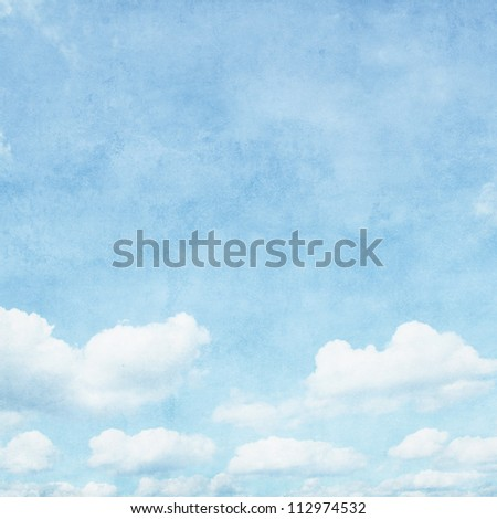 Vintage image of blue sky with clouds.