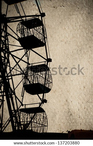 Vintage image of famous Ferris Wheel in urban of thailand