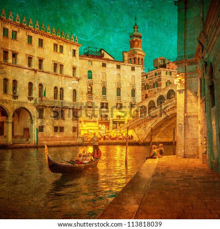 vintage image of grand canal ...