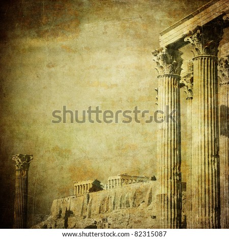 vintage image of greek columns  ...