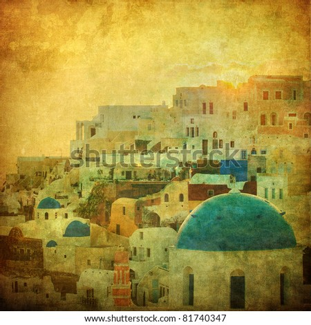 Vintage image of Oia village at Santorini island, Greece - stock photo