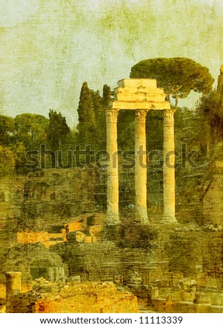 vintage image of roman ruins, rome, italy