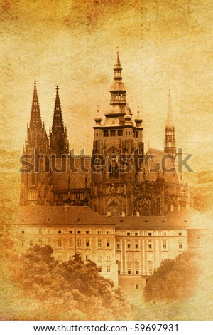 vintage image of St.Vitus Cathedral in Prague, Czech Republic