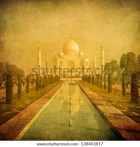 Vintage image of Taj Mahal Agra India
