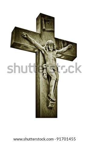 Vintage image of the crucifixion of Jesus Christ isolated on white