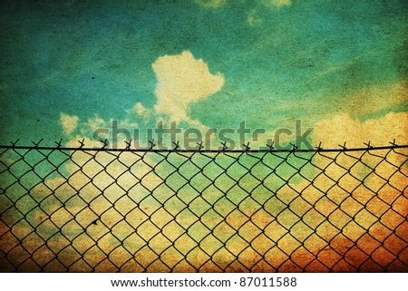 vintage image with fence netting