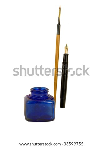 "VINTAGE INK BOTTLE WITH PEN AND FOUNTAIN PEN  ""OLD AND NEW!"