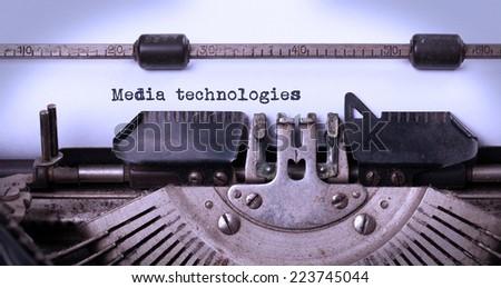 Vintage inscription made by old typewriter, media technologies Zdjęcia stock ©