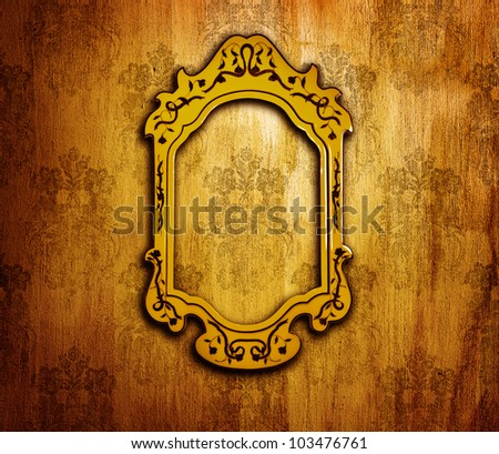 Vintage interior design, old golden mirror frame on retro grunge wall, artwork and picture aged framework, abstract dark background, wallpaper floral pattern, old fashioned style home furniture