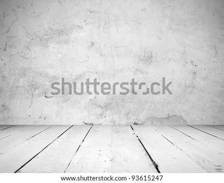 Vintage interior of stone wall and wooden floor