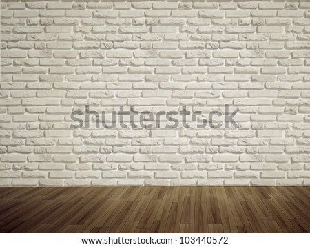 Vintage interior of white brick wall and old wooden floor. 3D render.