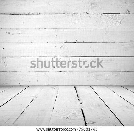 Vintage interior of white wooden a plank - stock photo