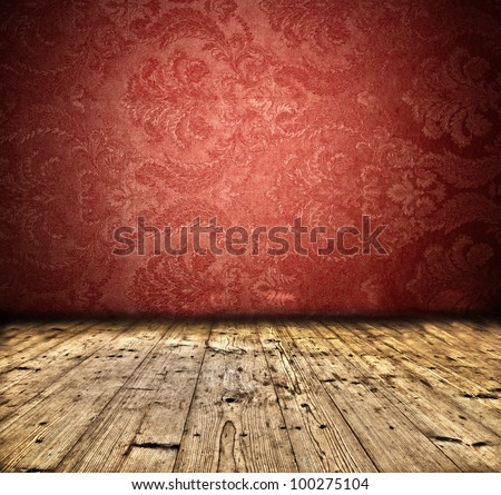 Vintage interior with empty wall