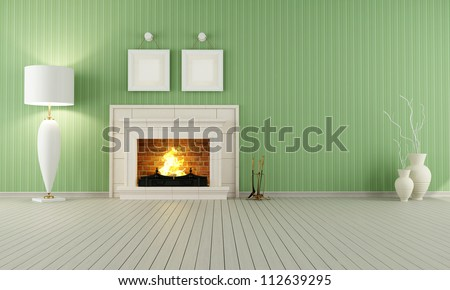 Vintage interior with green wallpaper and classic fireplace