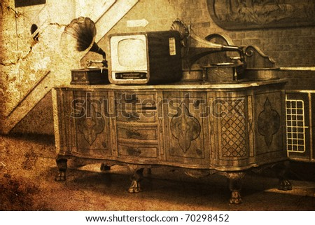 vintage interior with old TV phonograph player