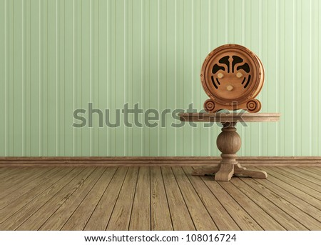 Vintage interior with old wooden radio on round table - rendering