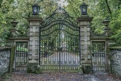 Vintage iron gates at castle hrad Bouzov, Moravia, Czech Republic