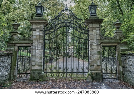 Vintage iron gates at castle hrad Bouzov, Moravia, Czech Republic