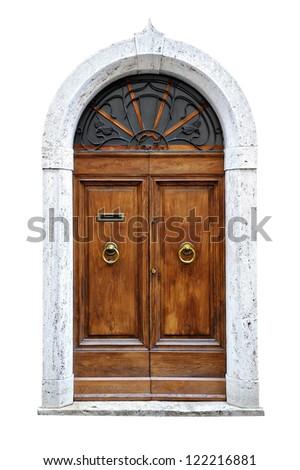 vintage italian door of small village isolated on white background.