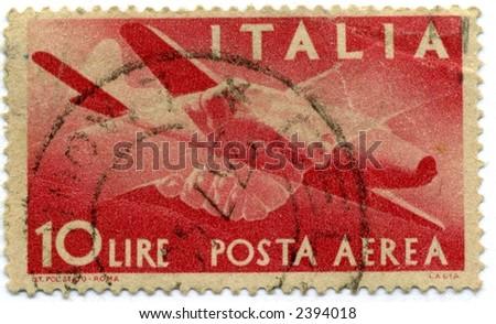 vintage italian postage stamp red planes 10 lire