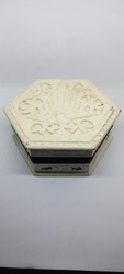 Vintage jewelelry, antique wooden jewelry box in in isolated white background