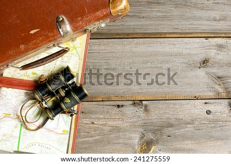 vintage journey set at dark planks