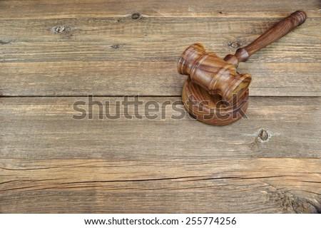 Vintage Judges Gavel On Grunge Wood Table