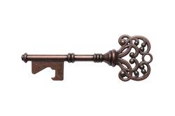 Vintage key isolate on white background.