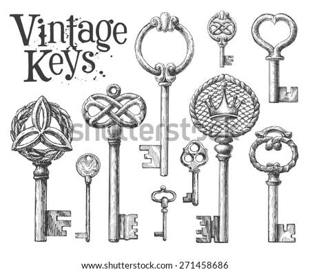 vintage key on a white...