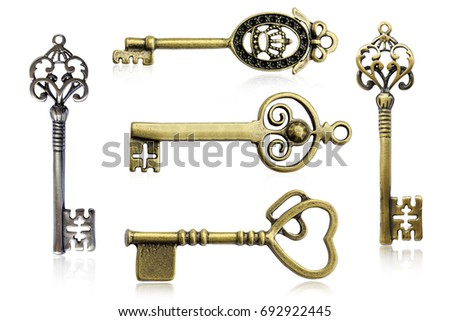 vintage keys set isolated on...