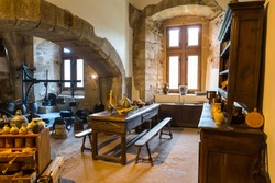 Vintage kitchen room in ancient castle, Europe
