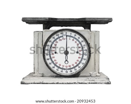 vintage kitchen scales isolated over white background