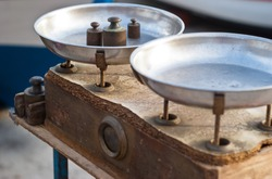 Vintage kitchen scales with brass weights