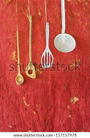 Vintage kitchen utensils,spoons spatulas,skimmer,free copy space