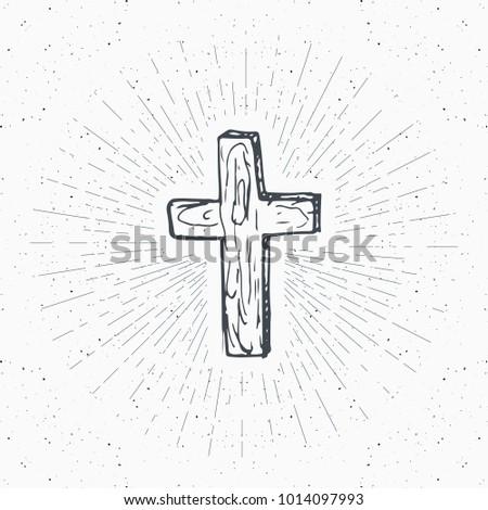 Vintage label, Hand drawn Christian cross, religious sign, crucifix symbol grunge textured retro badge, typography design t-shirt print, illustration