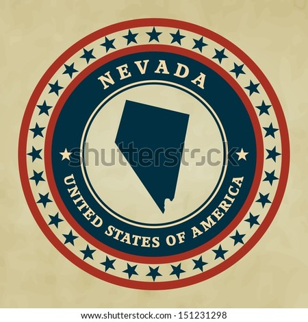 vintage label with map of nevada